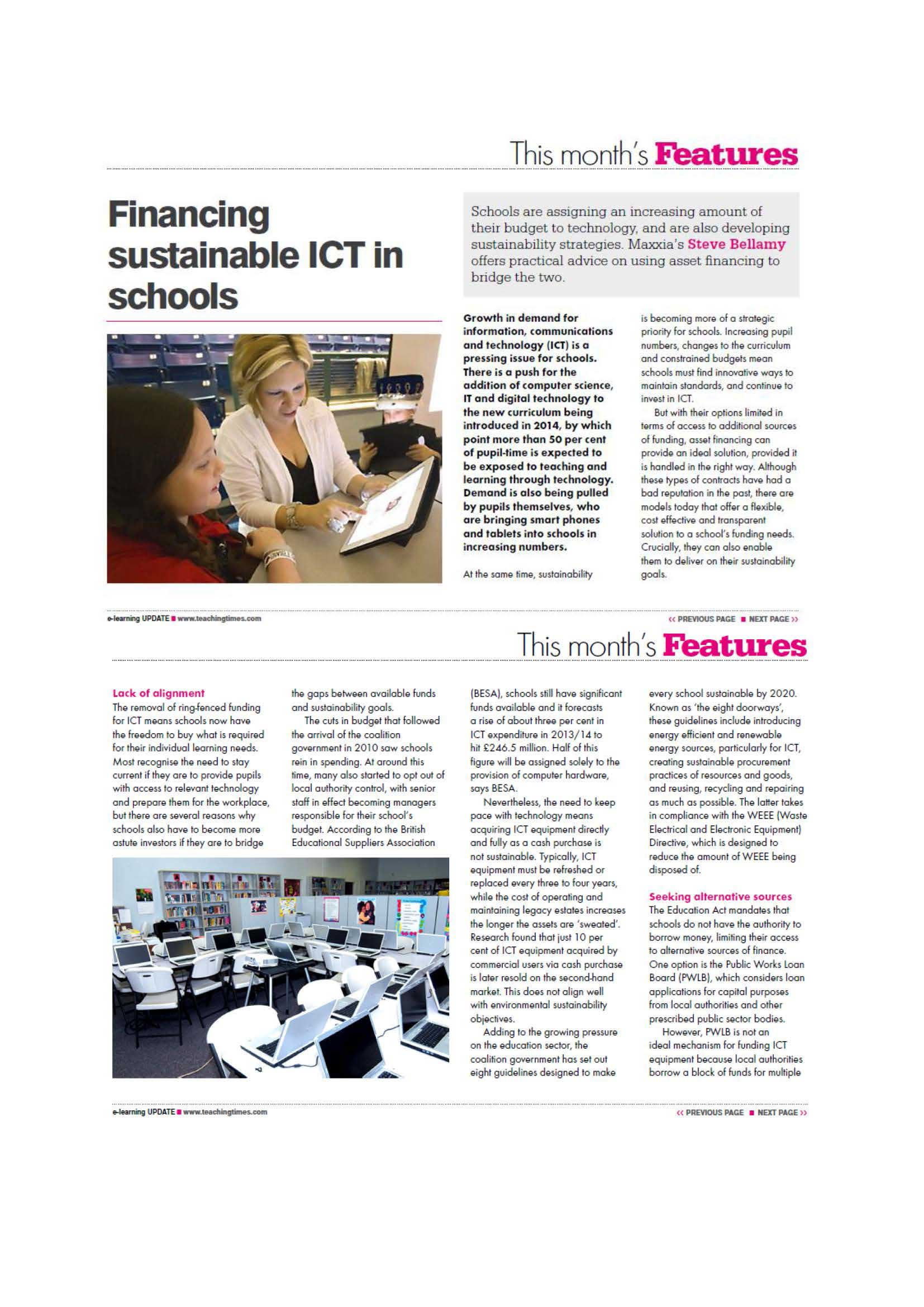 Financing sustainable ICT in schools