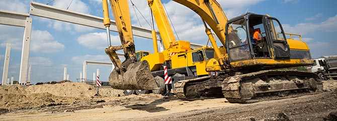 Construction equipment on site. Leasing construction equipment