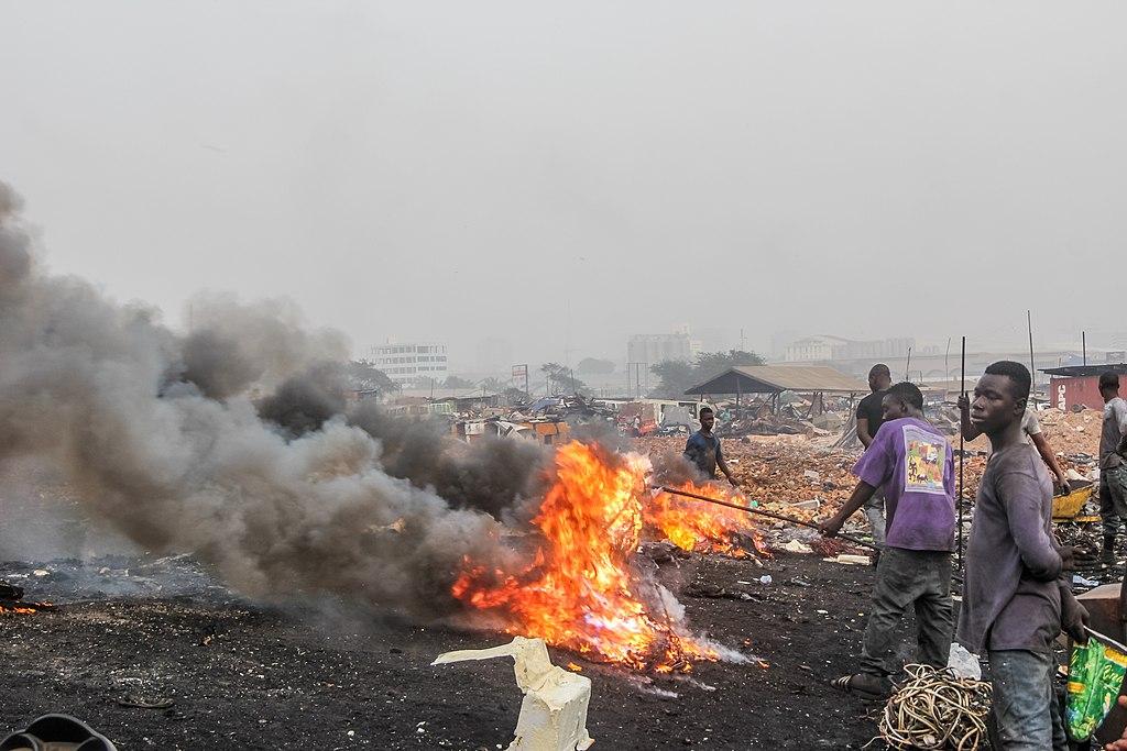 electronic waste burning ghana